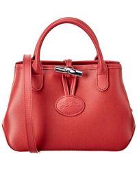 Longchamp Roseau Small Leather Crossbody - Red