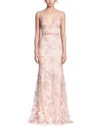 Marchesa notte Feather Embroidered Sleeveless Gown - Pink