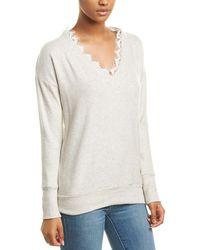 Three Dots Lace-trim Tunic - Gray