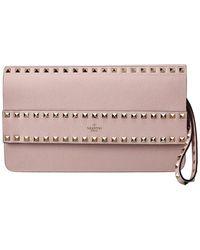 Valentino Garavani Rockstud Leather Clutch - Pink