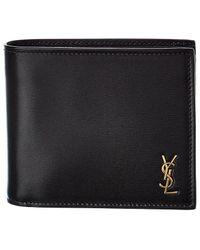 Saint Laurent Logo Plaque Leather Wallet - Black