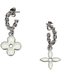 Louis Vuitton Silver-tone & White Monogram Earrings - Metallic