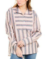 FRAME Denim Clean Collared Bib Shirt - Multicolor