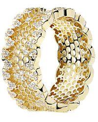 PANDORA 18k Cz Honeycomb Lace Ring - Metallic