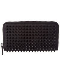 Christian Louboutin Panettone Embellished Ziparound Leather Wallet - Black