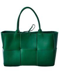 Bottega Veneta Arco Maxi Intrecciato Leather Tote - Green