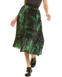 Off-White c/o Virgil Abloh Off-white? Brushstroke Pleated Silk A-line Skirt - Green