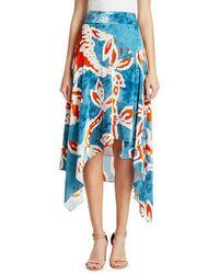 Peter Pilotto Printed Velvet Skirt - Blue