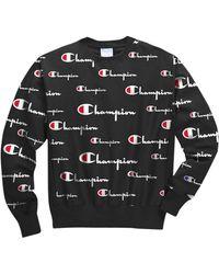 Champion Reverse Weave Crew-print Jumper - Black