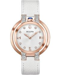 Bulova Leather Diamond Watch - Metallic