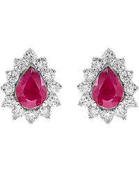 Diana M. Jewels . Fine Jewellery 14k 0.51 Ct. Tw. Diamond & Ruby Earrings - Pink
