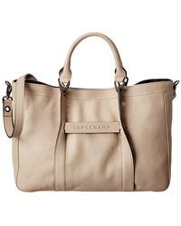 Longchamp 3d Logo Leather Tote - Brown