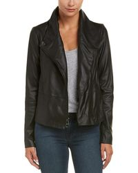 Vince | Rib-trim Leather Jacket | Lyst