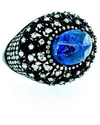 Arthur Marder Fine Jewelry Silver 2.35 Ct. Tw. Diamond & Tanzanite Ring - Blue