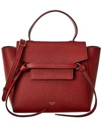 Céline Nano Belt Bag Leather Tote - Red