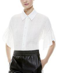 Alice + Olivia Edyth Ruffle Sleeve Top - White