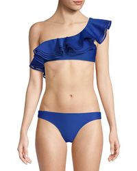 Mouillé Swimwear Ruffled One-shoulder Bikini Top - Blue