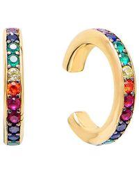 Gabi Rielle Gold Over Silver Multicolour Cz Ear Cuff - Metallic