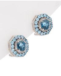 Judith Ripka Casablanca Silver Button Studs - Blue