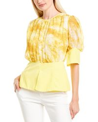 Gracia Peplum Top - Yellow