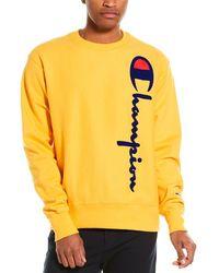 Champion Oversized Flocked Script Reverse Weave Sweatshirt - Yellow