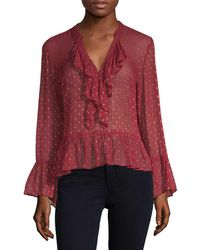 Plenty by Tracy Reese Polka Dot Bell Sleeve Blouse - Red