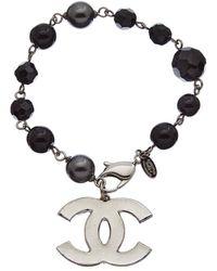 Chanel Silver-tone Faux Pearl Cc Bracelet - Metallic
