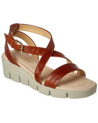 The Flexx The Strap Em In Leather Wedge Sandal - Brown