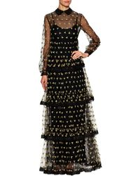 Valentino - Floral Embroidered Tiered Gown - Lyst