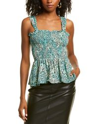 Kendall + Kylie Square Neck Smocked Tank - Blue