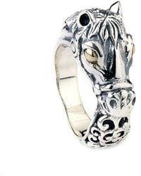 Samuel B. 18k Over Silver Horse Ring - Metallic