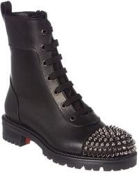 Christian Louboutin Ts Croc Leather Combat Boot - Black