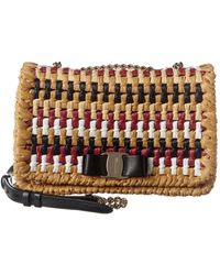 Ferragamo Vara Rainbow Raffia Crossbody - Brown