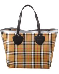 Burberry Giant Reversible Vintage Check & Leather Tote - Black