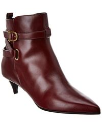 Celine Sharp Leather Bootie - Red