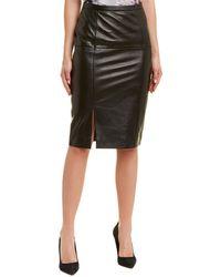 St. John Leather Pencil Skirt - Black