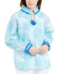 Sail To Sable Coral-print Tassel-tie Top - Blue