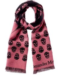 Alexander McQueen Biker Skull Jacquard Wool Scarf - Pink
