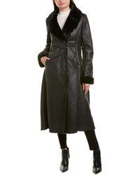 Via Spiga Faux Fur-lined Long Coat - Black