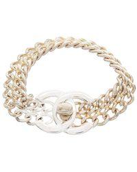 Chanel Silver-tone Medium Cc Turnlock Bracelet - Metallic