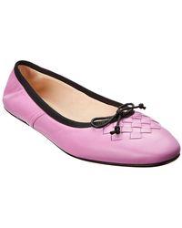 Bottega Veneta Pic Nic Leather Ballerina Flat - Purple