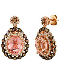 Le Vian 14k Rose Gold 6.22 Ct. Tw. Diamond & Peach Morganite Earrings - Metallic