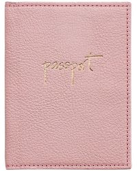 Graphic Image Leather Passport Case - Pink