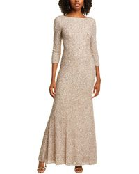 THEIA 3/4-sleeve Gown - Brown