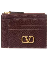Valentino Vlogo Leather Card Holder - Purple