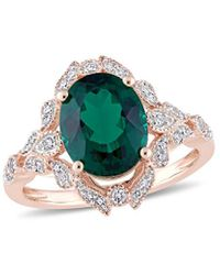 Rina Limor 10k Rose Gold 3.50 Ct. Tw. Diamond & Emerald Ring - Multicolor