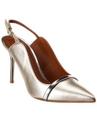 Malone Souliers Marion 85 Leather Slingback Pump - Metallic