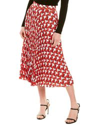 MILLY Pleated A-line Skirt - Red