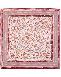 Louis Vuitton Red & Pink Printed Silk Scarf