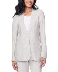 NYDJ Collarless Linen-blend Blazer - Gray